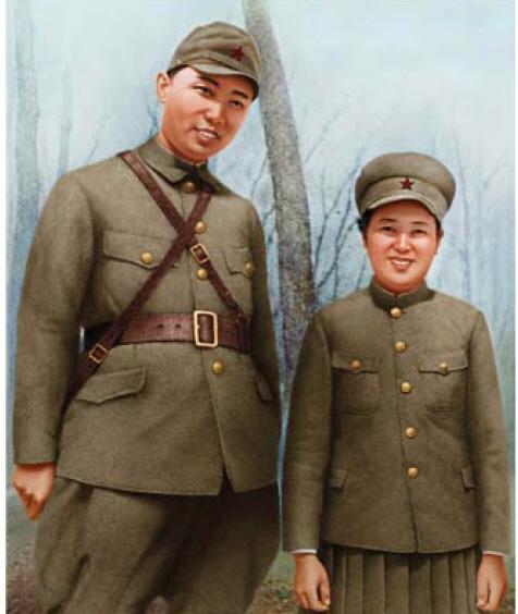 일제시기 빨치산 군복차림의 북한 김일성 부부