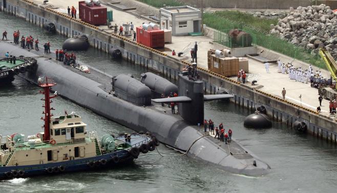 미국 핵잠수함 오하이오 부산 입항<YONHAP NO-1941>