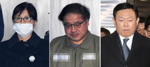 '국정농단' 최순실·안종범, '뇌물' 신동빈, 1심 선고 출석