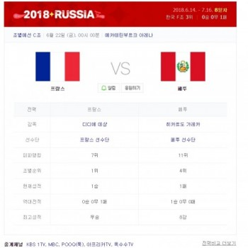 프랑스 페루 중계는 어디서? KBS1·MBC·푹·아프리카TV·옥수수서 생중계