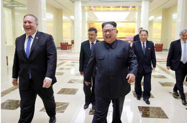 북한 김정은, 폼페이오 접견