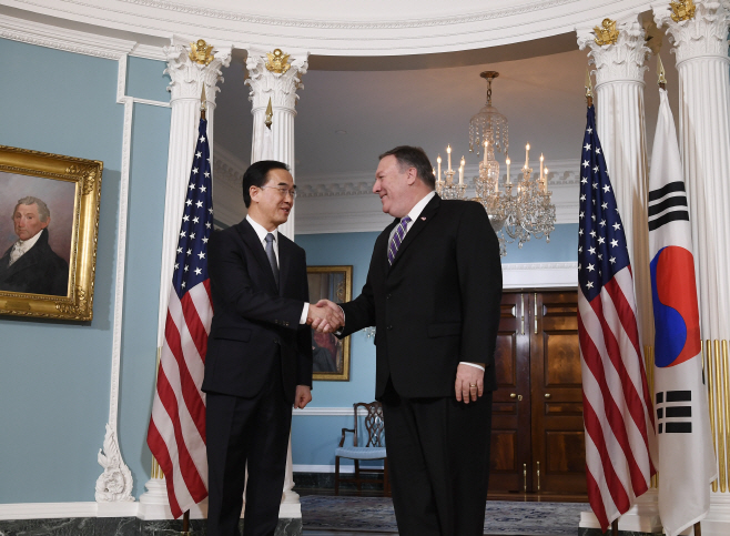 U.S.-WASHINGTON D.C.-MIKE POMPEO-SOUTH KOREA-CHO MYOUNG-GYON-MEETING