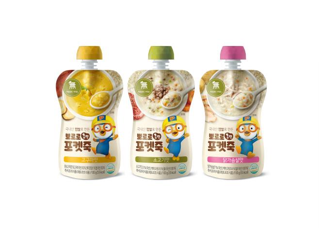 [사진]팔도, 어린이를 위한 '뽀로로 참맛포켓죽' 3종 출시
