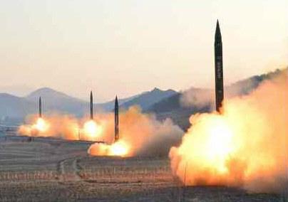 북한, 탄도미사일 발사훈련 사진 공개<YONHAP NO-1136>