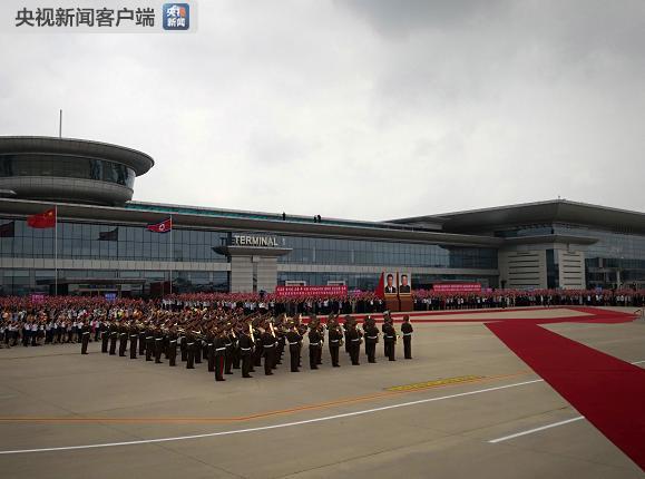 시진핑 환영 의식을 위해 대기 중인 북한 의장대