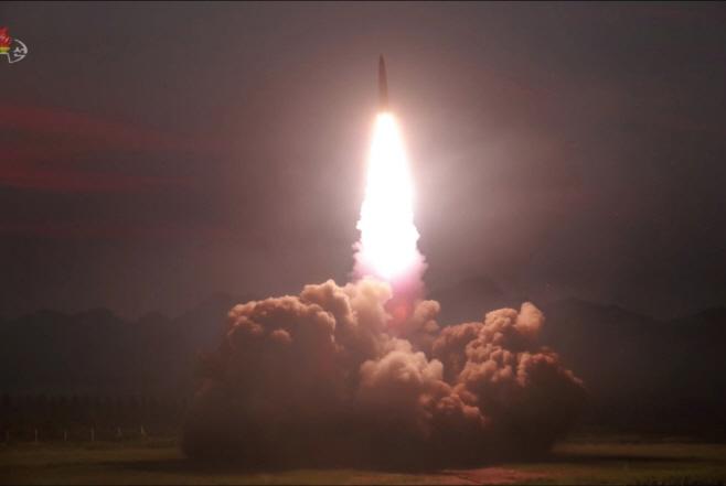 북한TV가 공개한 '신형전술유도탄'<YONHAP NO-3145>