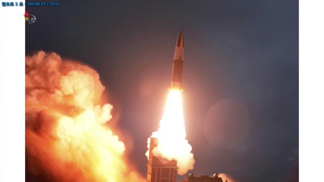 북한 TV, 10일 발사 장면 공개…신형 지대지 전술미사일 추정