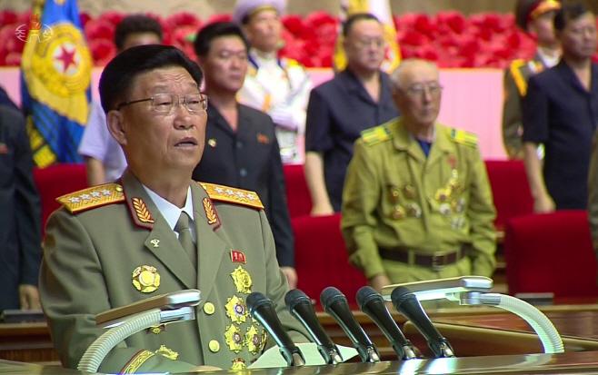 북한 김수길, 전승절 66주년 중앙보고대회 보고