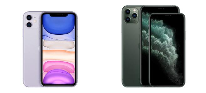 아이폰11(왼쪽)과 아이폰11 프로 시리즈