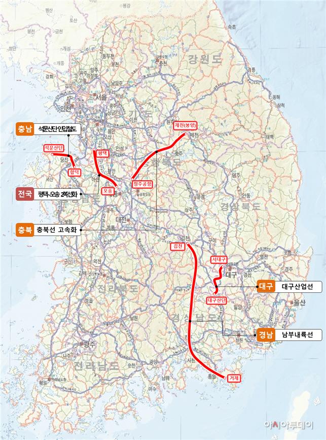 철도 예타면제 타당성조사 및 기본계획 용역추진 사업 위치도