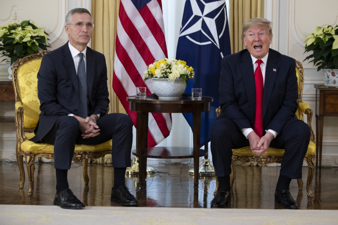 APTOPIX Britain NATO Trump