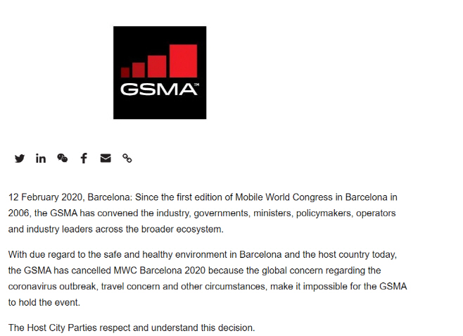 GSMA, MWC cancel