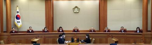 헌법소원 선고 착석한 재판관들<YONHAP NO-3843>