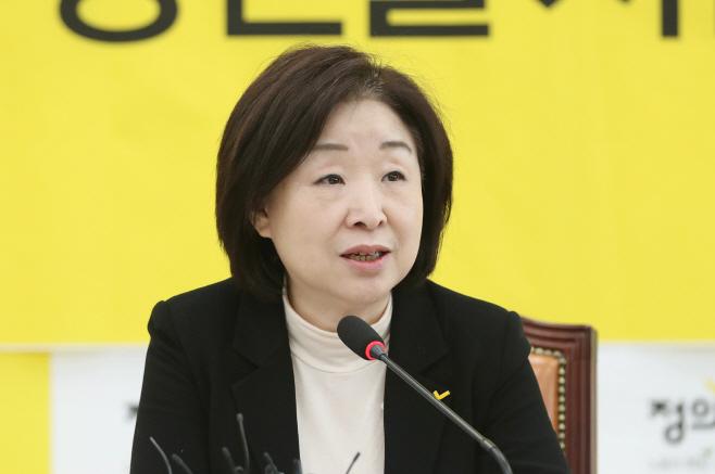제21대 총선 기자간담회하는 심상정 대표<YONHAP NO-2019>