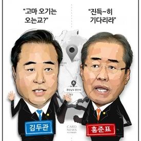 """'경남 패권 둘러싼 두 남자' 김두관 """"오긴 오나"""" VS 홍준표 """"진득~히 기다리라"""""""