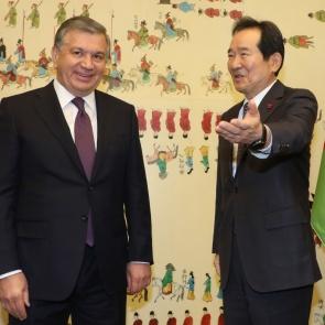 정세균, 미르지요예프 우즈벡 대통령 접견