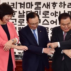 손 맞잡는 문희상 국회의장-3당 대표