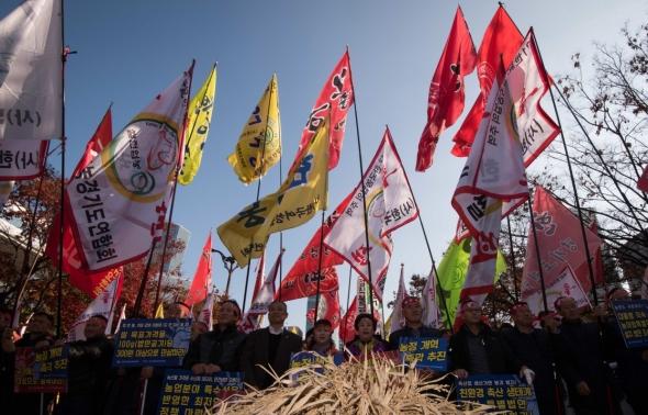 여의도서 농정개혁 촉구하는 농업 경영인들