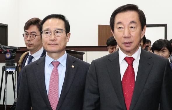 5당 원내대표 회동 참석한 홍영표-김성태