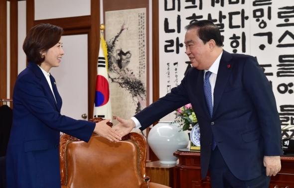 나경원 한국당 신임 원내대표 문희상 국회의장 예방