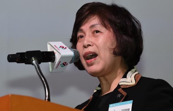기조연설하는 강정애 숙명여대 총장