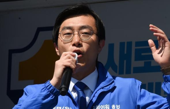 동대문을 선거 유세하는 장경태 후보