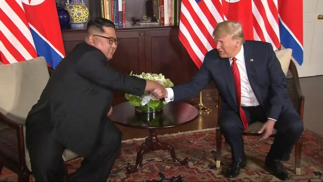 Singapore Trump Kim Summit <YONHAP NO-1532> (AP)