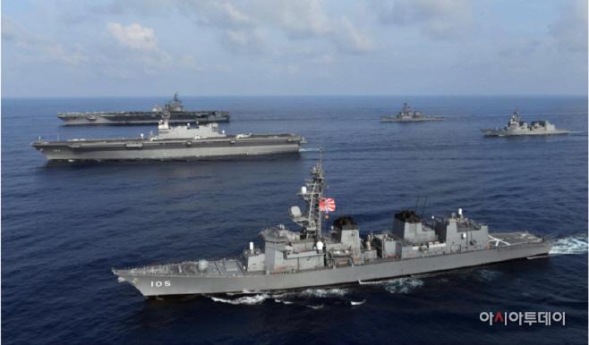 욱일기 단 일본 해상자위대 함정