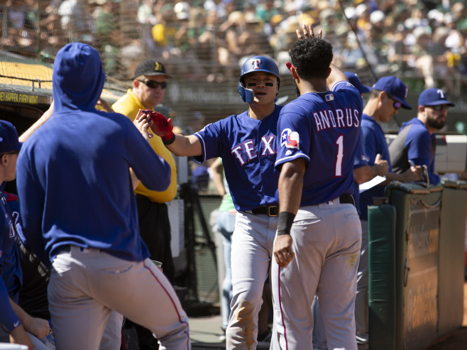 Rangers Athletics Baseball <YONHAP NO-1280> (AP)
