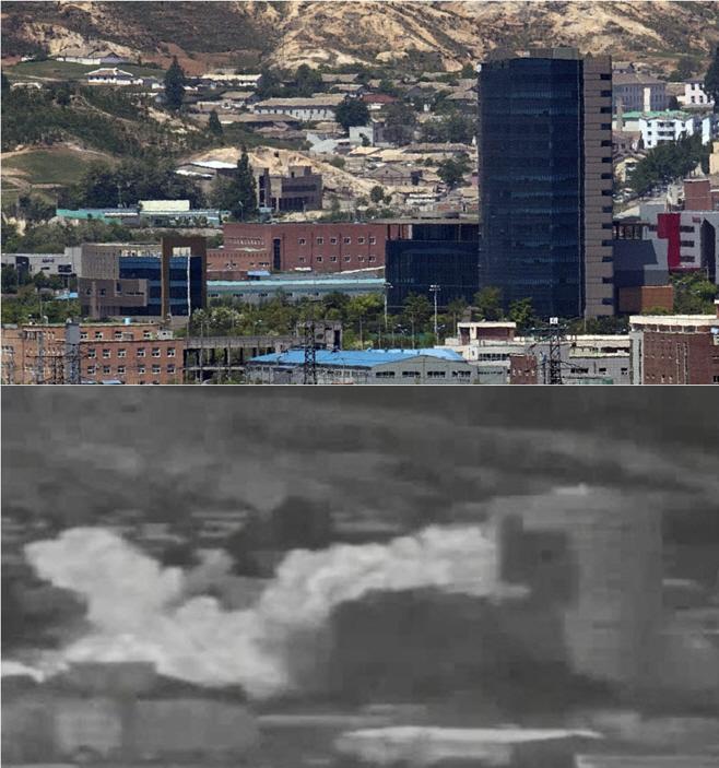 북한이 폭파한 개성공단 남북 연락사무소 일대