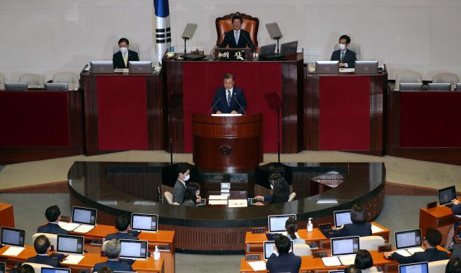 제21대 국회 개원 축하 연설하는 문 대통령