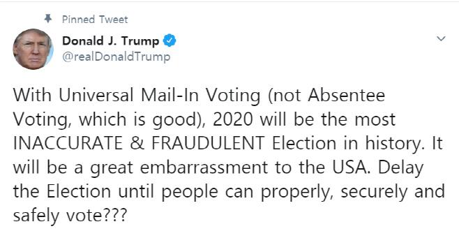 트럼프 트윗 대선 연기