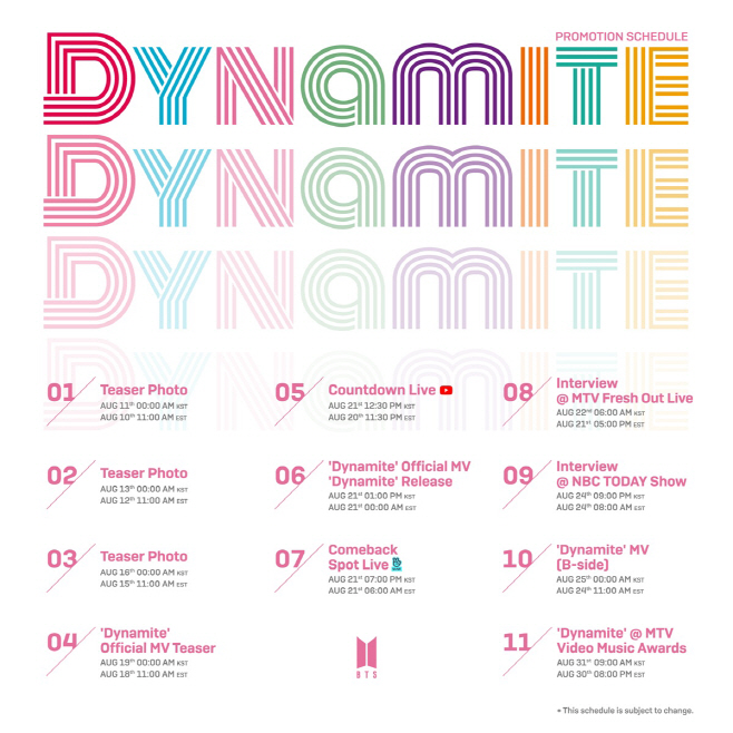 방탄소년단_'Dynamite'_프로모션스케줄