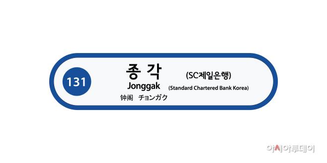 [첨부이미지] 지하철 1호선 종각역(SC제일은행역) 역명표지