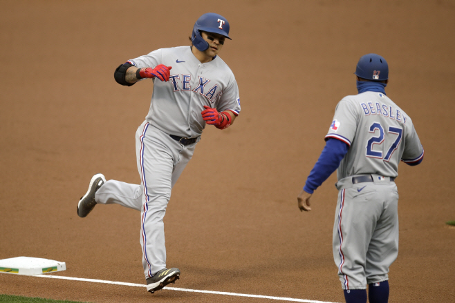 Rangers Athletics Baseball <YONHAP NO-2337> (AP)