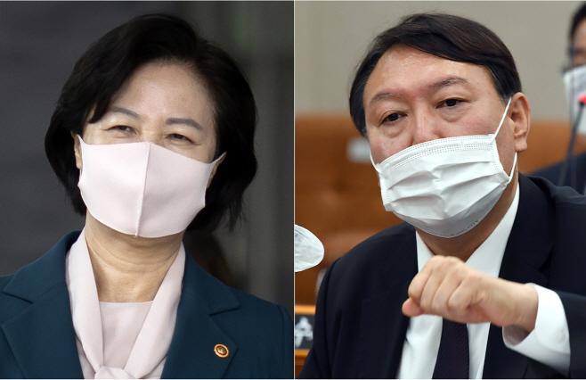 외출하는 추미애와 국정감사 출석한 윤석열