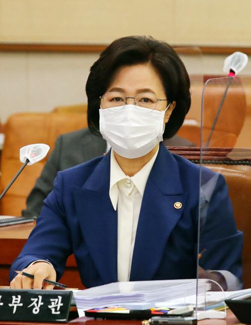 [포토] 추미애 법무부 장관 법사위 종합감사 출석