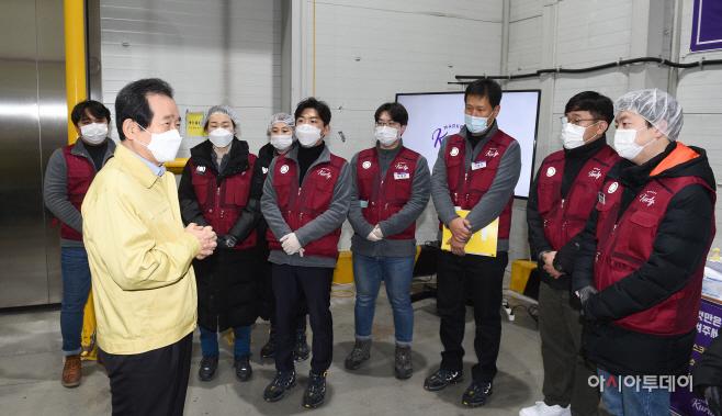 [포토]정세균 총리, 물류센터 직원들 격려