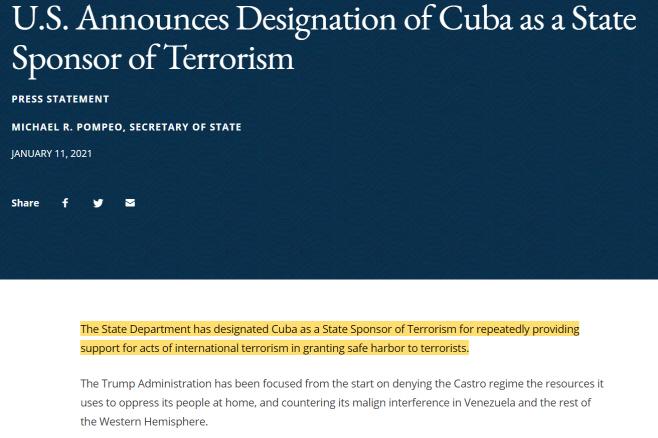 미 쿠바 테러지원국 재지정