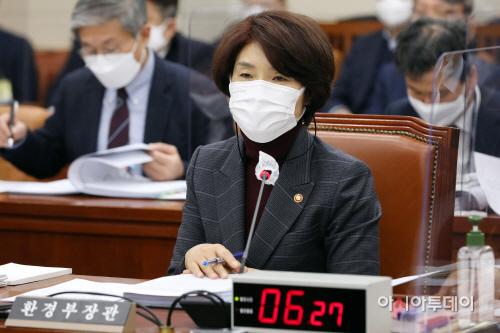 [포토] 한정애 환경부 장관 국회 환노위 답변