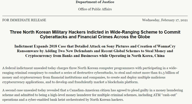 미국 법무부 북 해커 기소20210217_144030