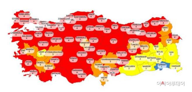 터키 코로나 위험 지도