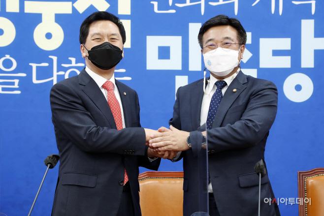 김기현, 윤호중 민주당 원내대표 예방