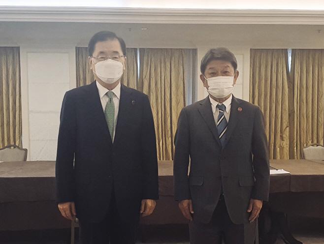 정의용 외교장관과 모테기 일본 외무상