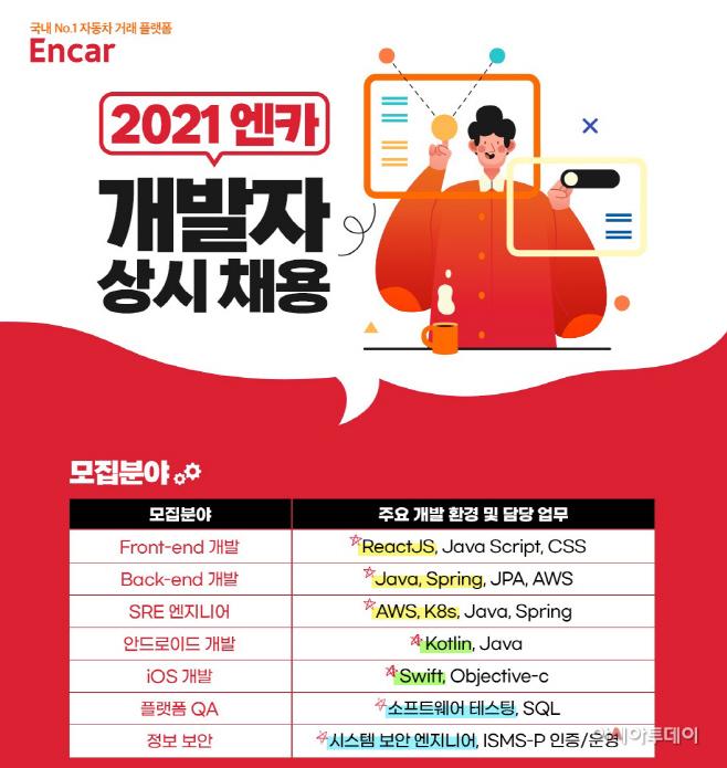 [이미지] 엔카닷컴 2021 신입, 경력 IT 개발자 상시 채용