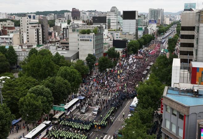 종로에서 열린 민주노총 대규모 집회<YONHAP NO-2183>