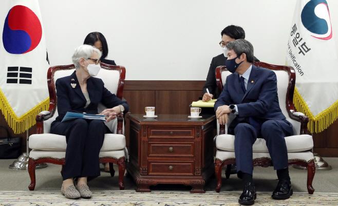 이인영 통일부 장관, 웬디 셔먼 미 국무부 부장관 접견