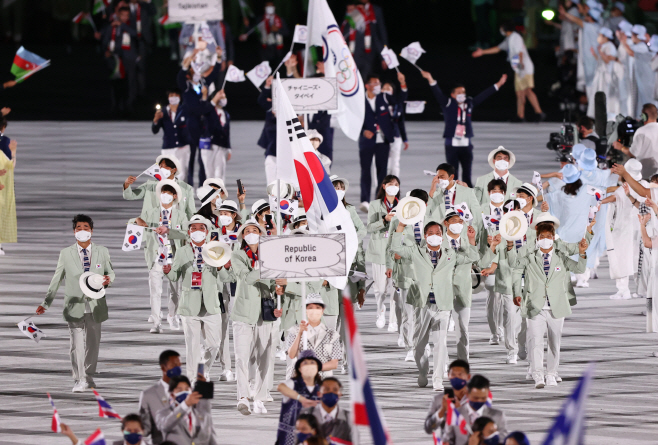 [올림픽] 한국 도쿄올림픽 개막식 입장<YONHAP NO-4688>