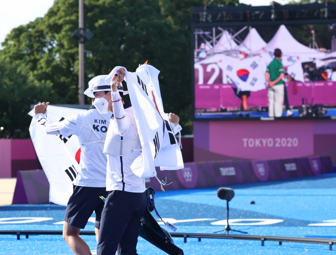 [올림픽] 도쿄에 태극기 휘날리며<YONHAP NO-1955>