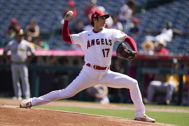 Athletics Angels Baseball <YONHAP NO-1498> (AP)